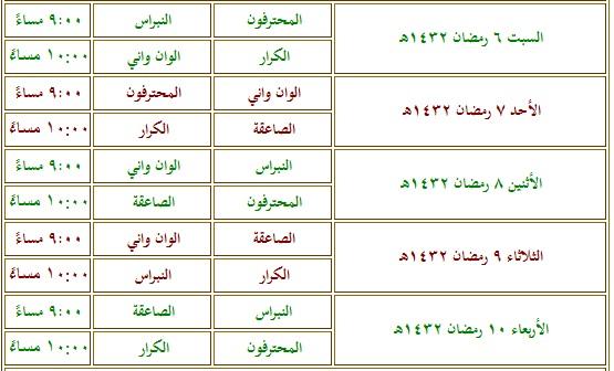 جدول كرة اليد السعودي 1442